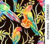 parrot seamless pattern.... | Shutterstock .eps vector #278388332