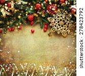 christmas retro card border... | Shutterstock . vector #278423792