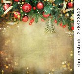 christmas retro card border... | Shutterstock . vector #278423852
