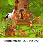 Forest Animals Living In The...