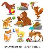 Stock vector cartoon animals in action 278445878
