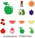 colored fruit icons | Shutterstock .eps vector #278457626