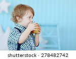little cute boy with curly hair ... | Shutterstock . vector #278482742