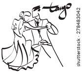 art sketched tango dancers  | Shutterstock .eps vector #278483042