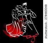 art sketched tango dancers  | Shutterstock .eps vector #278483048