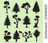 cartoon tree silhouettes... | Shutterstock .eps vector #278483825