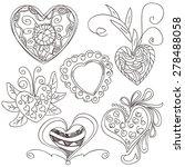 ornate heart shapes   Shutterstock .eps vector #278488058
