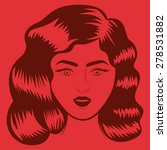 retro woman design over red... | Shutterstock .eps vector #278531882
