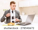 work and breakfast. keen... | Shutterstock . vector #278540672