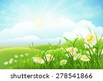 Summer Meadow Landscape With...