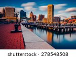 Long exposure of the Baltimore Skyline and Inner Harbor Promenade, Baltimore, Maryland