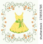 vintage label with yellow dress ... | Shutterstock .eps vector #278553785