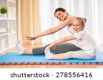 mother and daughter doing yoga... | Shutterstock . vector #278556416