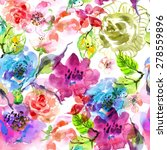 watercolor floral frame ... | Shutterstock .eps vector #278559896