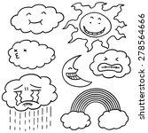 vector set of sun  moon  cloud... | Shutterstock .eps vector #278564666