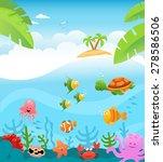 tropical underwater scene | Shutterstock .eps vector #278586506