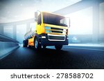 orange truck with oil cistern... | Shutterstock . vector #278588702