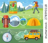 man traveler with backpack... | Shutterstock .eps vector #278593118