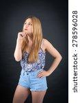 beautiful girl doing different...   Shutterstock . vector #278596028