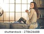 a brunette long haired woman is ... | Shutterstock . vector #278626688