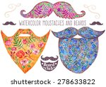 hand drawn watercolor beards... | Shutterstock .eps vector #278633822