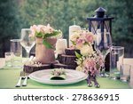 wedding table setting in rustic ... | Shutterstock . vector #278636915