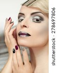 makeup and manicure with grey... | Shutterstock . vector #278697806