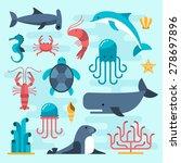 set of beautiful flat sea life  ... | Shutterstock .eps vector #278697896