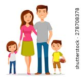 cute cartoon family in colorful ... | Shutterstock .eps vector #278708378