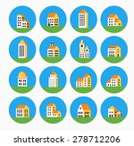 flat colored building urban... | Shutterstock .eps vector #278712206