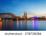 Small photo of Cologne Dom and city skyline at night, Cologne, Germany