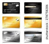 credit card set in golden black ...