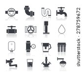 water supply icons black set...