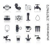 water supply icons black set...