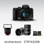realistic photo camera and... | Shutterstock .eps vector #278763338