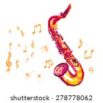 saxophone made with watercolor... | Shutterstock .eps vector #278778062
