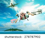 young man flying from passenger ... | Shutterstock . vector #278787902