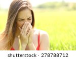woman with allergy coughing in... | Shutterstock . vector #278788712