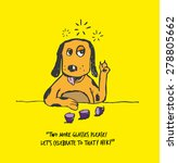 drunkard dog in a bar.hand...   Shutterstock .eps vector #278805662