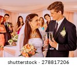happy wedding couple drinking... | Shutterstock . vector #278817206
