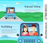 man and woman traveling by car. ... | Shutterstock .eps vector #278818022