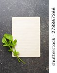 the arugula leaves with blank paper - stock photo
