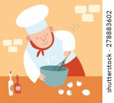 the cook in the kitchen. whisk... | Shutterstock . vector #278883602