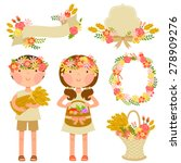 kids carrying crops and a set... | Shutterstock .eps vector #278909276