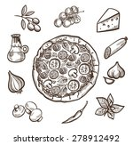 set of images with pizza in the ... | Shutterstock .eps vector #278912492