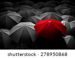 Red Umbrella Stand Out From Th...