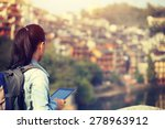 young woman tourist use digital ...   Shutterstock . vector #278963912