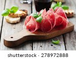 Delicious Salami With Basil An...