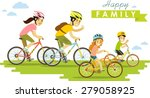 happy family riding bikes... | Shutterstock .eps vector #279058925