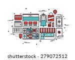 thin line flat design of online ...   Shutterstock .eps vector #279072512